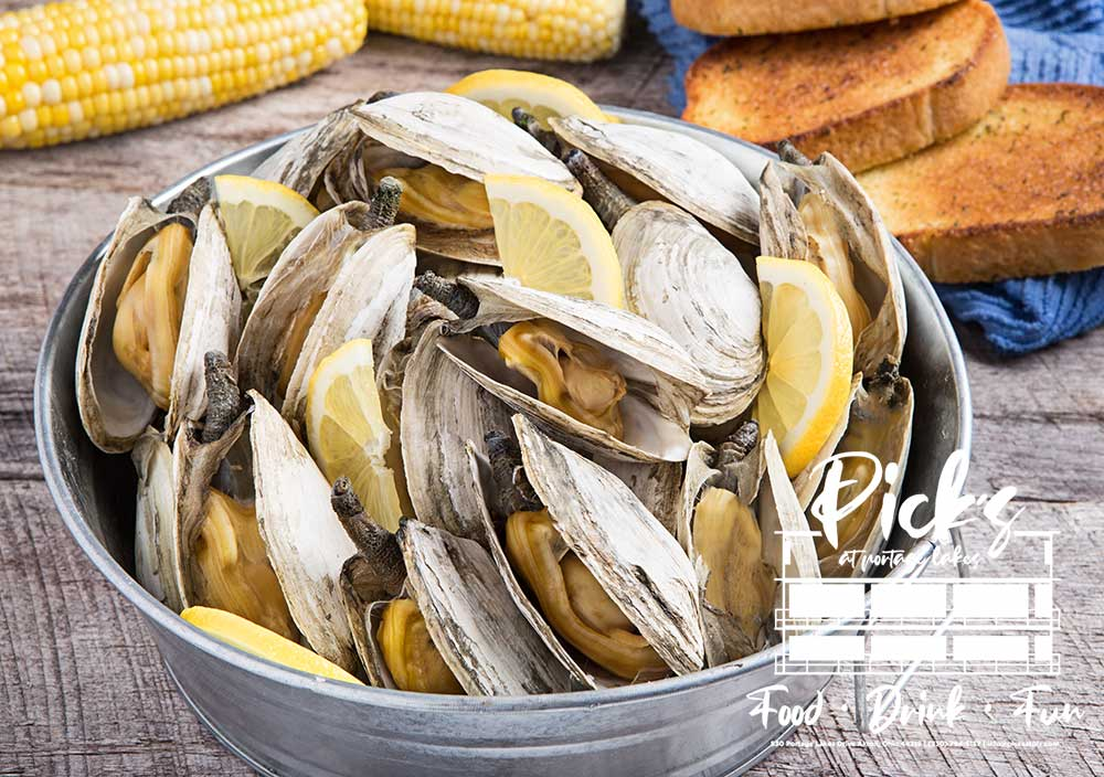 Pick's 3rd Annual Clam Bake Sept 26th & 27th 1 dozen clams, ½ chicken, red skins, corn on the cobb, clam chowder