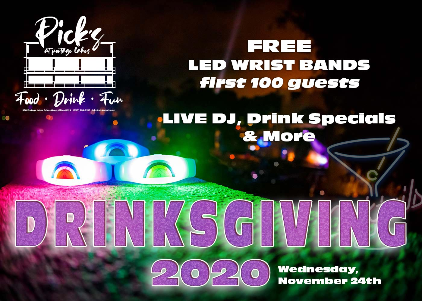pick's annual drinksgiving party flyer 2020